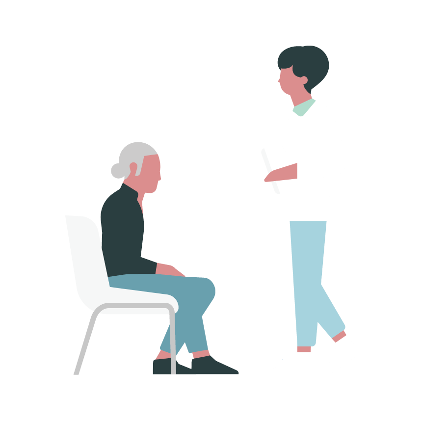 Illustration of a medical professional meeting with a patient.