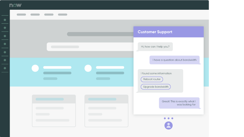 Illustration of a customer support screen displaying an AI-powered chatbot conversation about bandwidth.