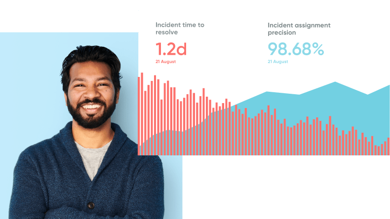 A smiling man next to a healthcare graph depicting incident time to resolve.