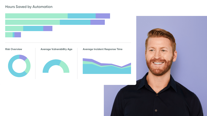 A digital dashboard measuring increased productivity from healthcare automation next to a smiling business analyst.