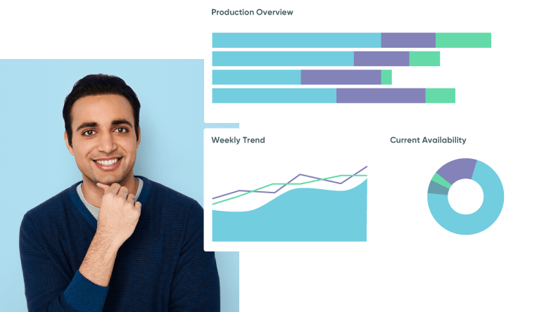 A casual professional standing next to a screenshot of production overview and weekly trend graphs.