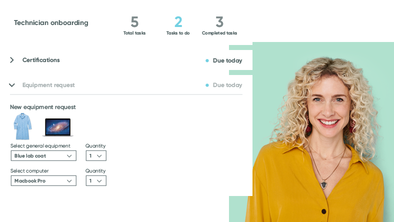 Portrait of a professional woman next to a screenshot of healthcare management software.
