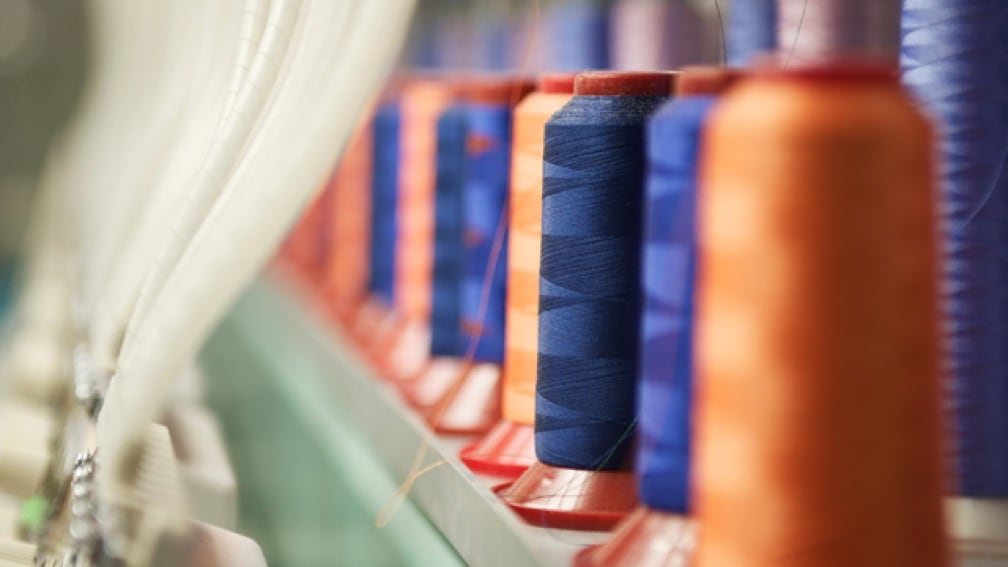 Large spools of colorful thread