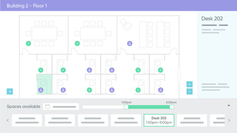 Floor plan for booking conference rooms and workspaces