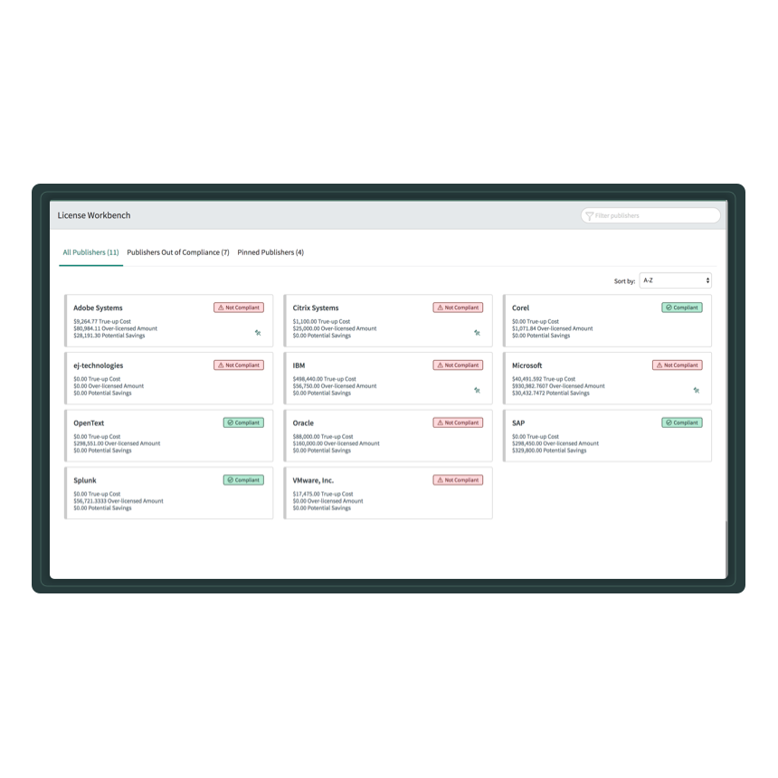 License Workbench dashboard