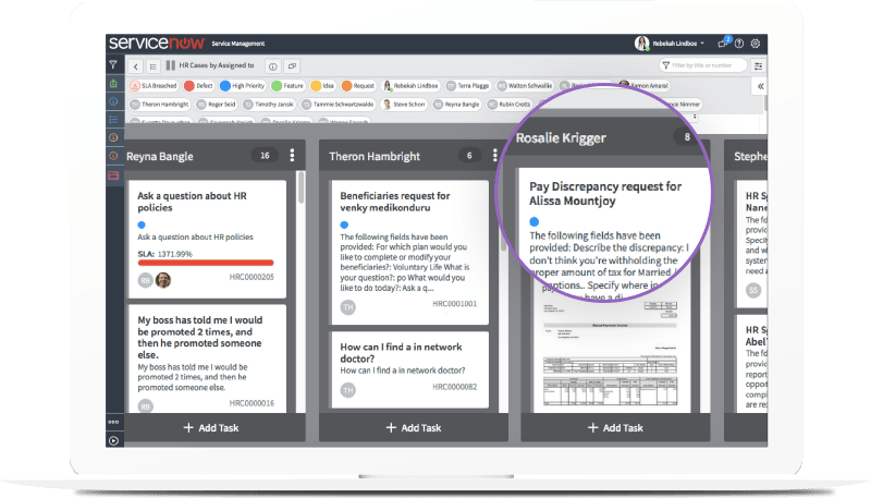 ServiceNow software user interface depicting how human resources cases can be automatically assigned to the best qualified expert in human resources or another department like payroll.