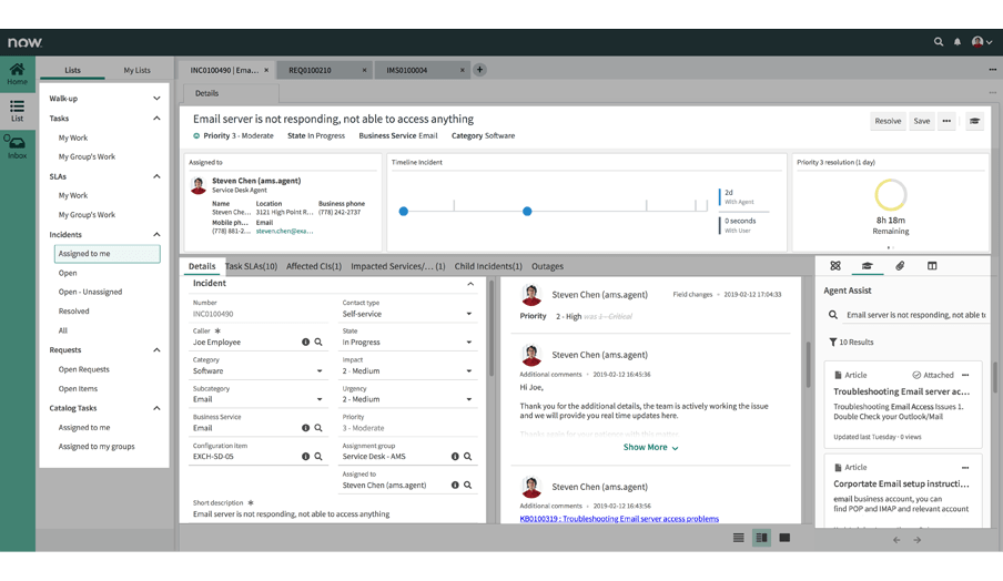 Incident Management – Enterprise IT – ServiceNow